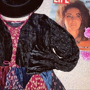 Vtg 70s Velvet Patch Bell Sleeves Maxi Dress M L